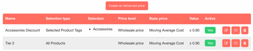 Advanced Pricing List