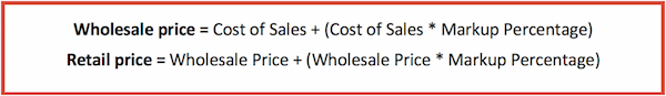 Calculate wholesale price with markup
